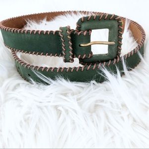 Green Genuine Leather Contrast Stitch Belt